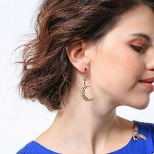 Jigdaliag Jewelry - Star & Moon Crystal Vintage Dangle Drop Earrings